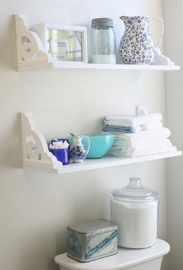 DIY Both Decorative and Functional Bathroom Shelves With Brackets.