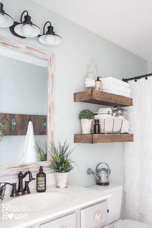 Ruatic Wood Open Shelves Over the Toilet for Country Bathroom Storage.
