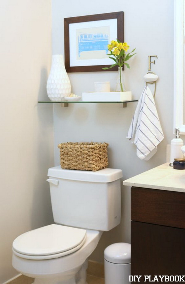 Over The Toilet Storage with Clear Glass Shelves.