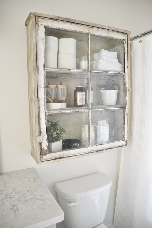 Diy Antique Window Cabinet Over The Toilet Storage