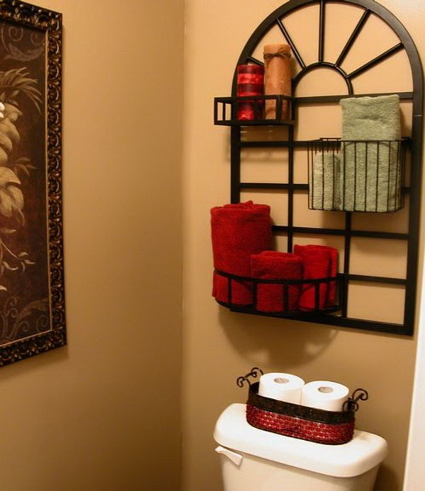 Pot Rack Over The Toilet For Storage And Display.