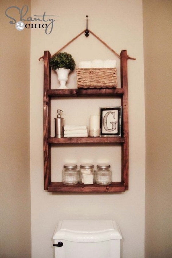 DIY Hanging Shelf Over The Toilet.