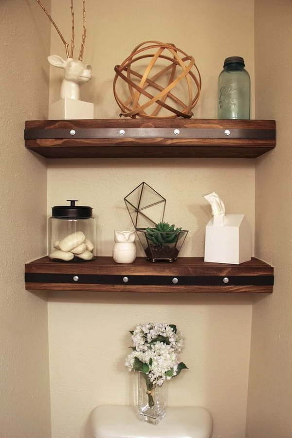 DIY Floating Shelves with Faux Rivets.