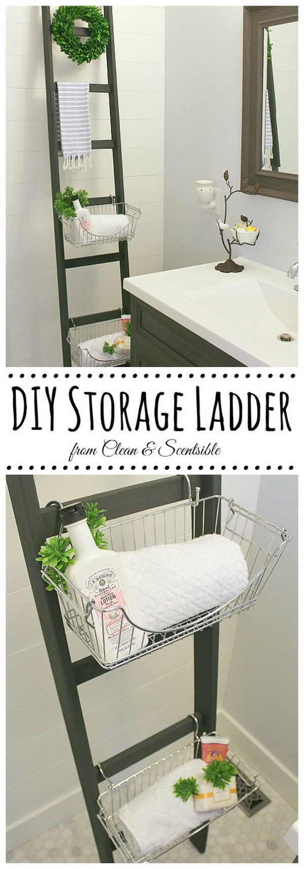 A DIY ladder with wire baskets attached can add some beautiful storage space in your bathroom.