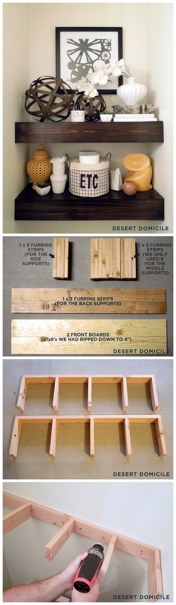DIY $15 Chunky Wooden Floating Shelves.