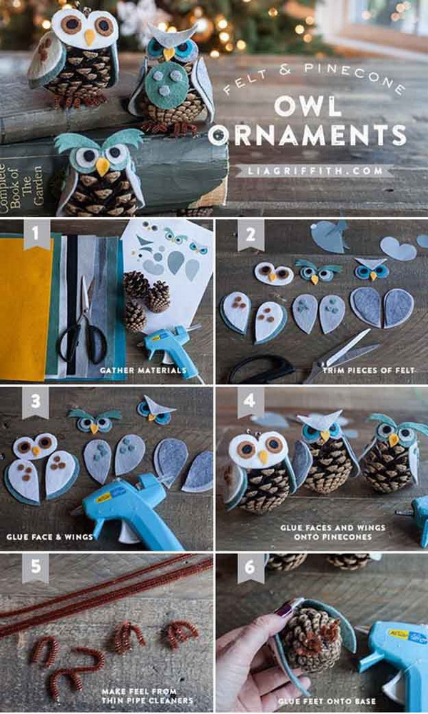 Felt & Pinecone DIY Owl Ornaments.