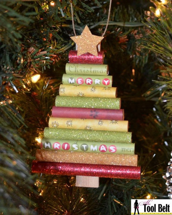 Rolled paper Christmas Tree Ornament.