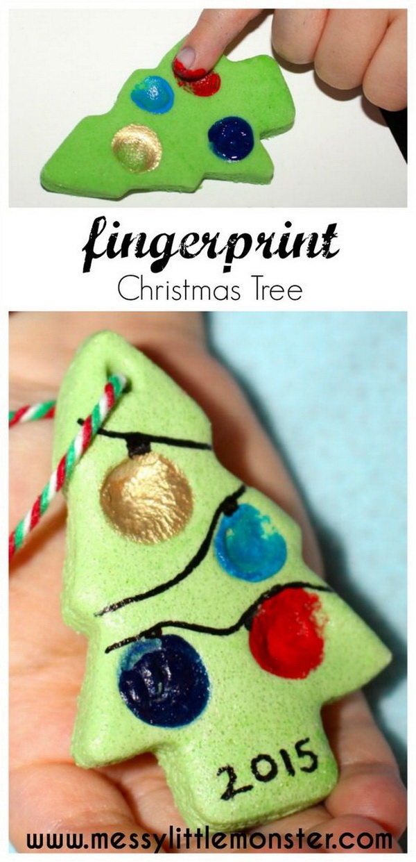 Salt Dough Fingerprint Christmas Tree.