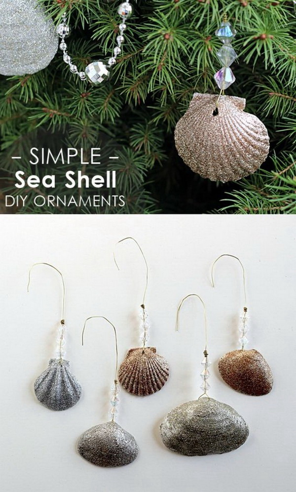DIY Glittery Shells Christmas ornaments.