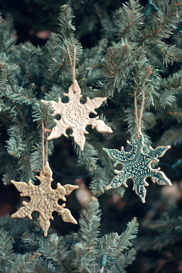 DIY Lace Snowflake Ornaments.