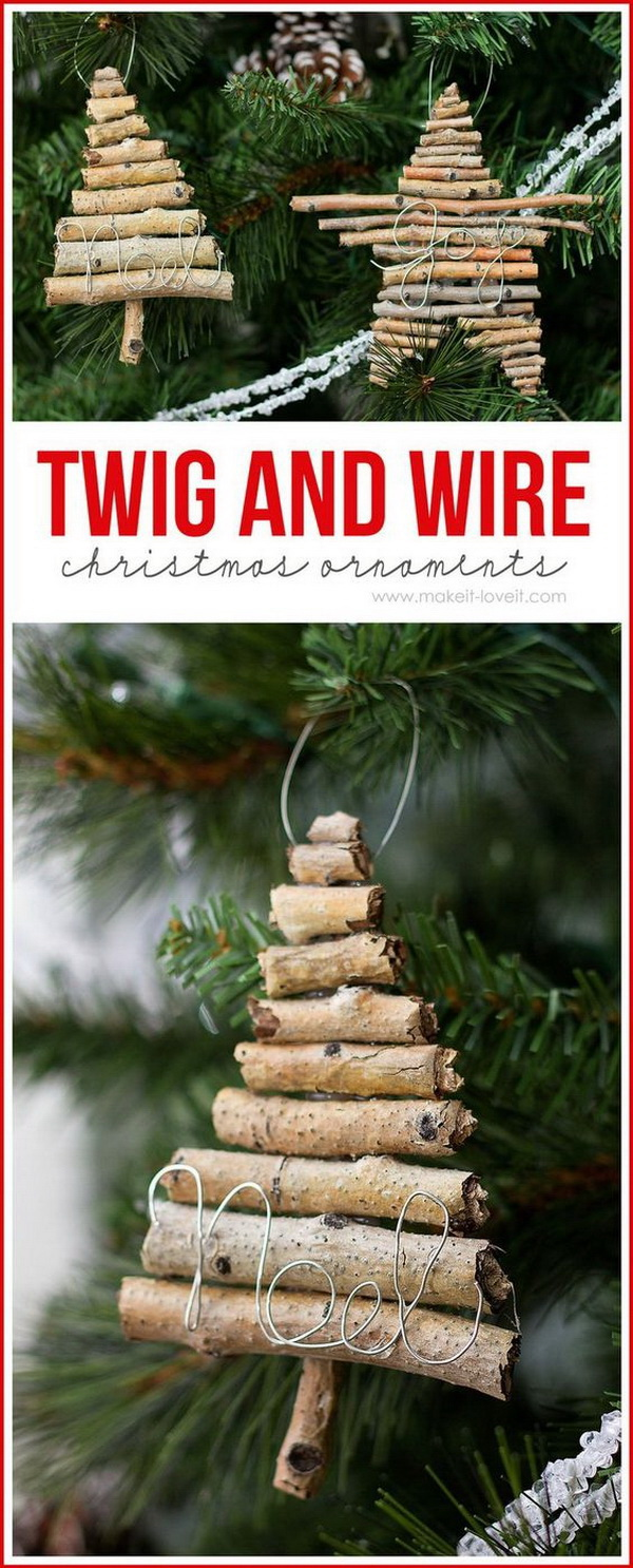 Twig And Wire Christmas Ornaments.