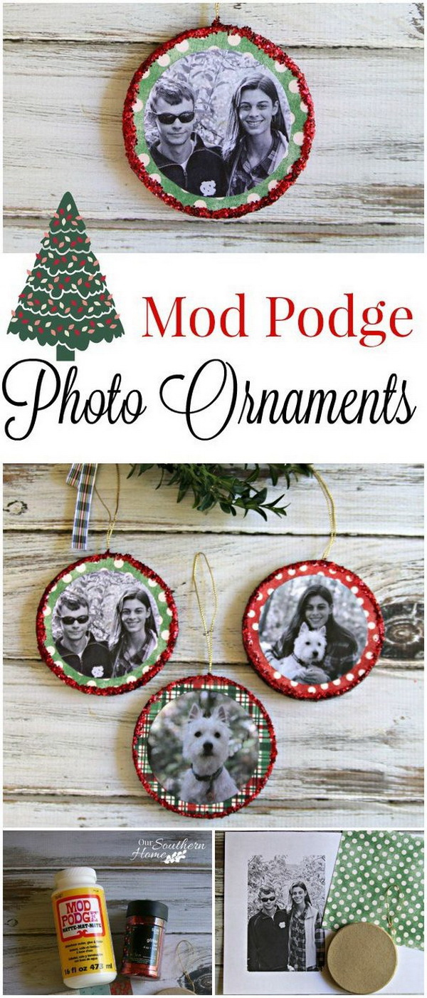 Mod Podge Photo Ornaments.