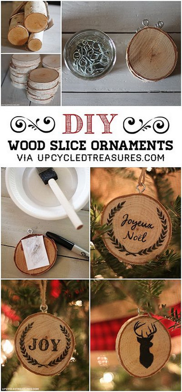 DIY Wood Slice Christmas Ornaments.