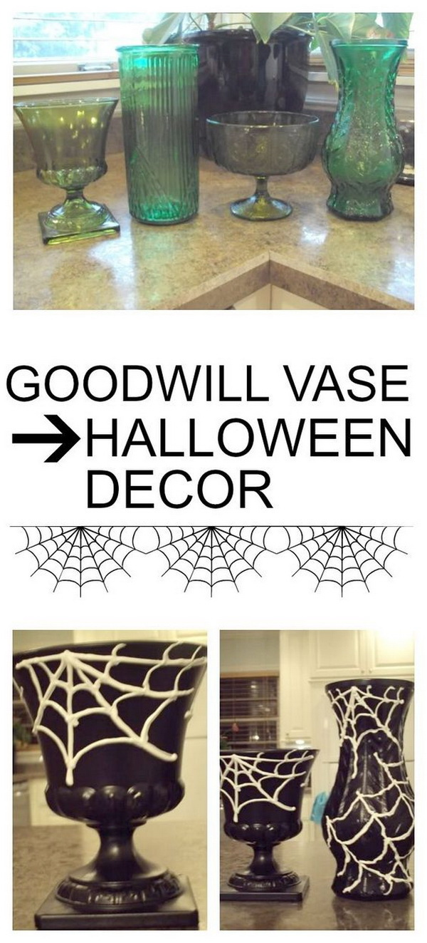 Rummage Sale Vase To Halloween Decor. Turn the cheap and simple rummage sale vases to these gorgeous Halloween decor pieces with paints. Perfect for Halloween decorations.