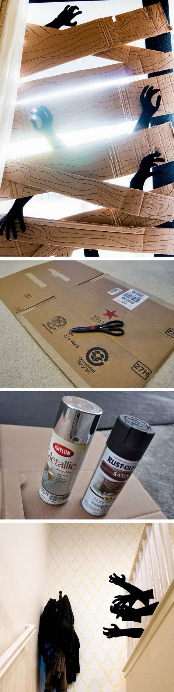 DIY Cardboard Zombie Barricade. DIY zombie barricade, all made from cardboard! A fun and spooky addition to your Halloween decoration!