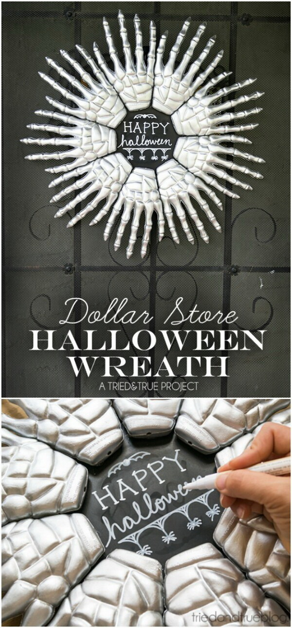 Skeleton Hands Halloween Wreath. Make a wreath out of plastic skeleton hands from the dollar store with metallic spray paint. Very cool work with an awesome aesthetic effect!