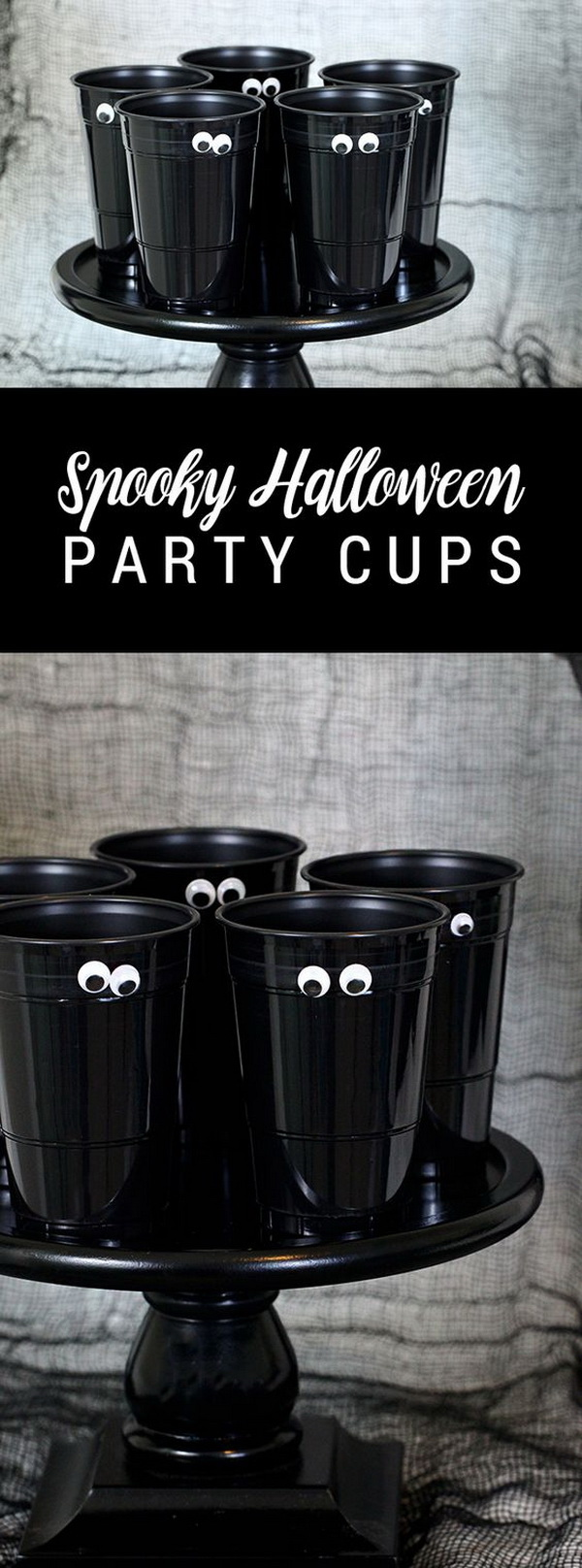 DIY Spooky Halloween Party Cups. These whimsical all-black painted cups are great as centerpieces for your next Halloween party.