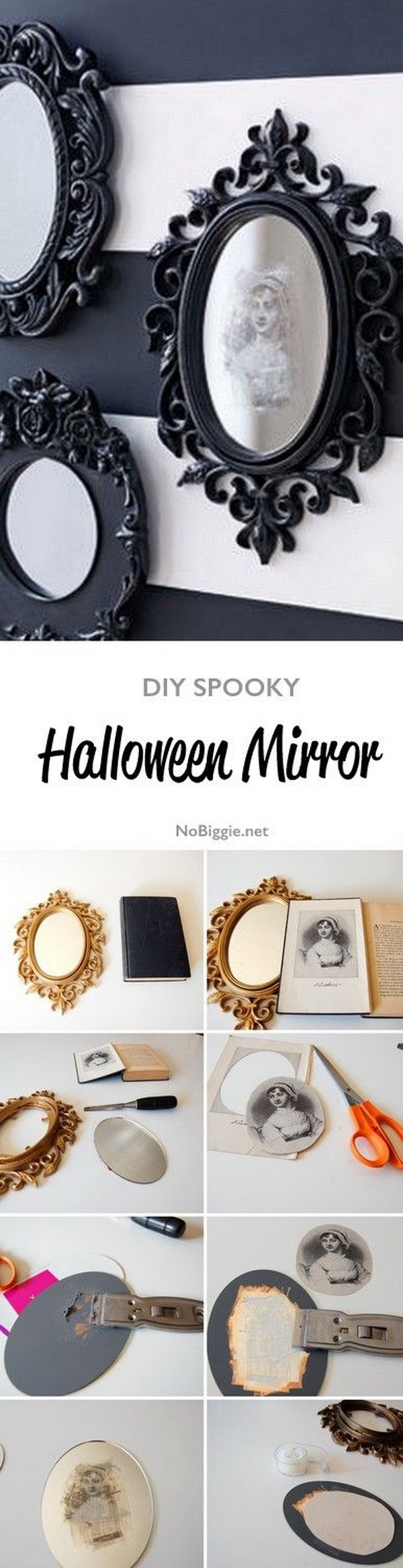 DIY Spooky Halloween Mirror. This black painted mirror is perfect for your spooky needs.