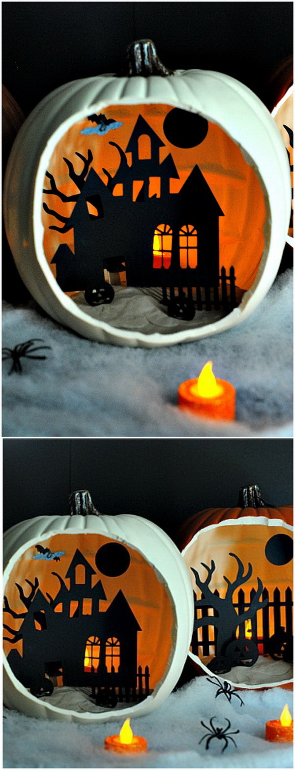 Homemade Shadow Box Pumpkins. A perfect Halloween decoration that are pretty easy to make and so much fun.