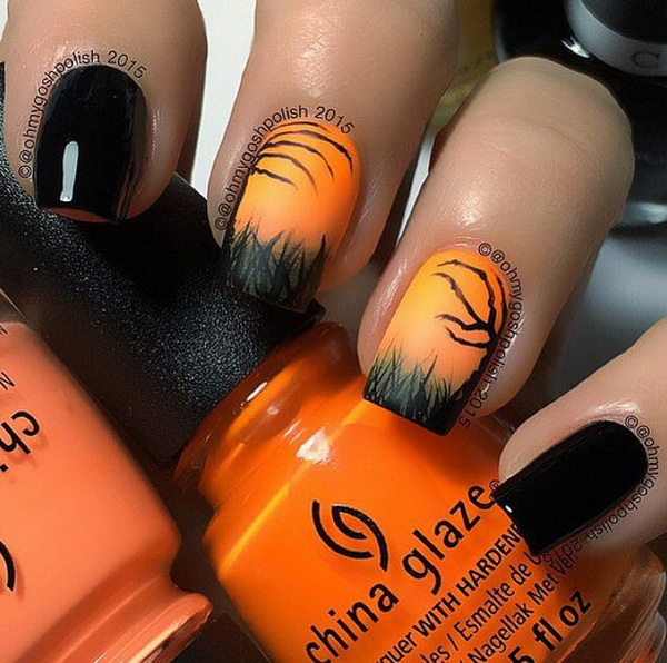 Black and Coral Matte Halloween Nail Art.