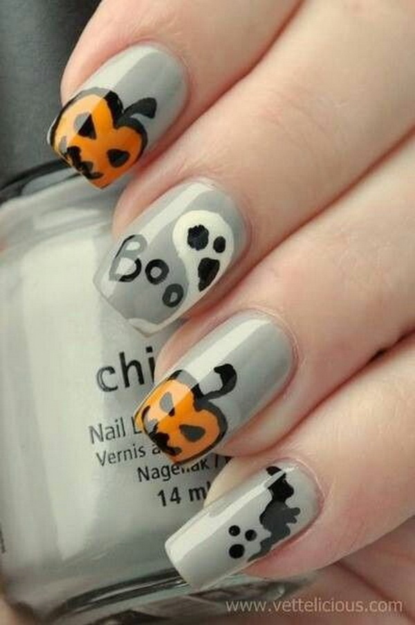 Gray Nail Designs for Halloween.