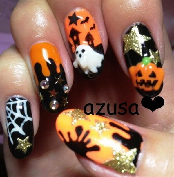 Amazing Halloween Nail Art with Designs.