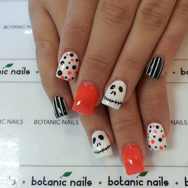 Cutest Halloween Nail with Polka Dots.