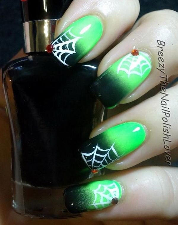 Spooky Halloween Web Nail Art.