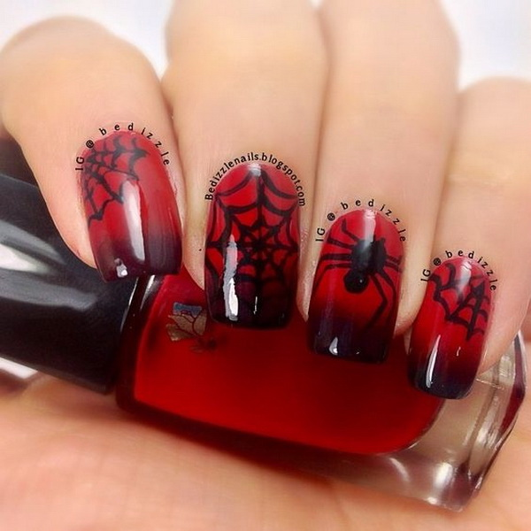 . Black and Bloody Spider Halloween Nails