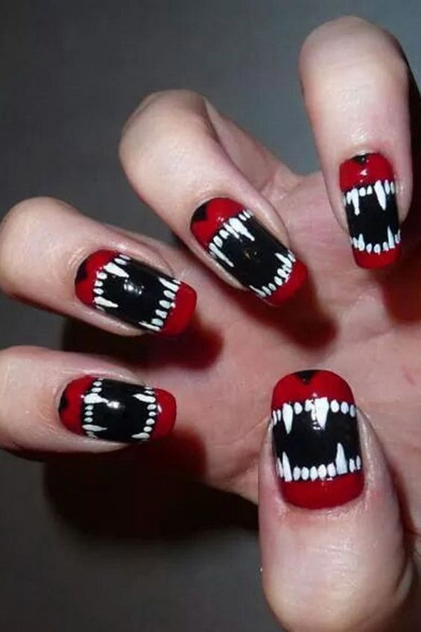 Spooky Red, Black and White Halloween Nails.