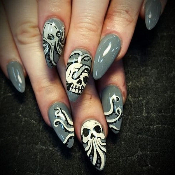Skull Octopus Stiletto Nail Design.
