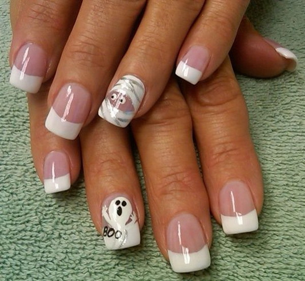 Cute White Halloween Nails.