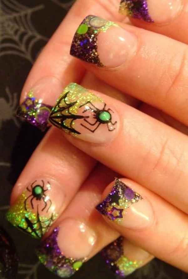 Spider Halloween Nail Art.