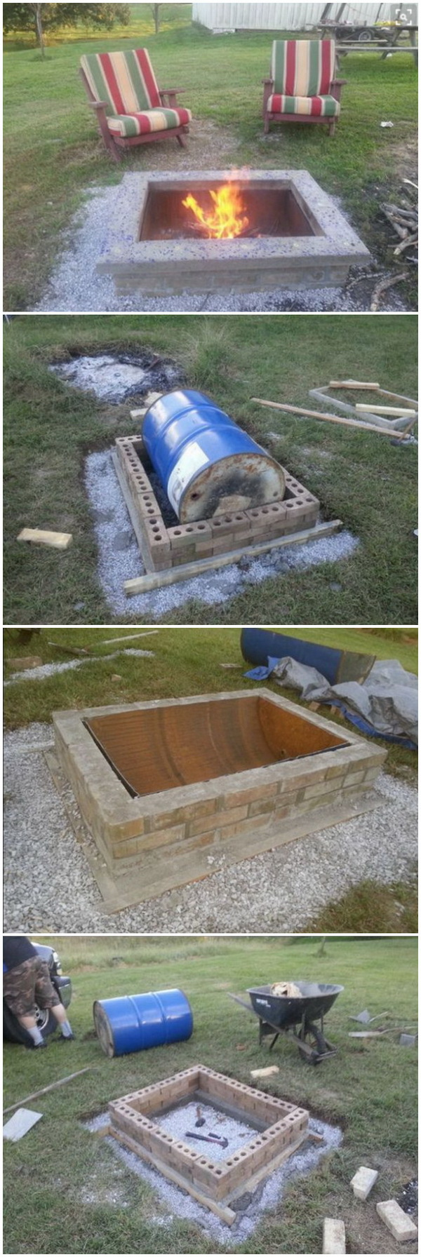 DIY Fire Pit With Custom Cap Stone.