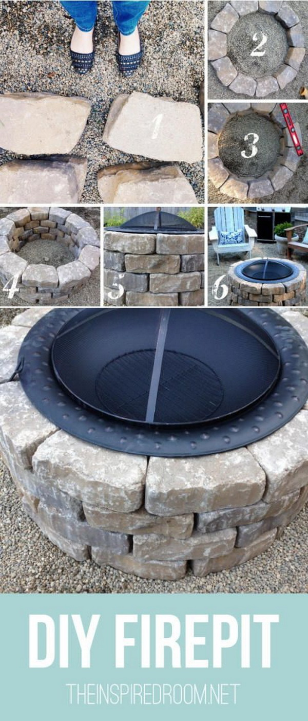 DIY Firepit with Big Metal Bowl.