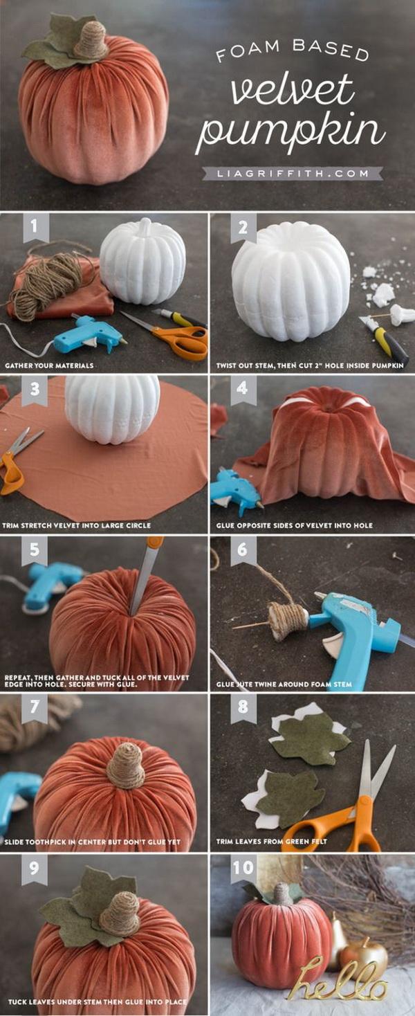 Handmade Velvet Pumpkins. These velvet pumpkins make great decor for Autumn, Halloween, Thanksgiving, even Christmas!
