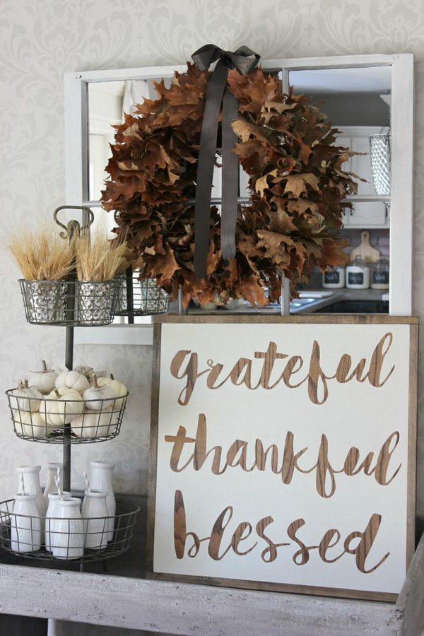 Grateful Thankful Blessed Sign. This beautiful rustic thankful sign with natural elements would be perfect in any home or office for the fall decor.