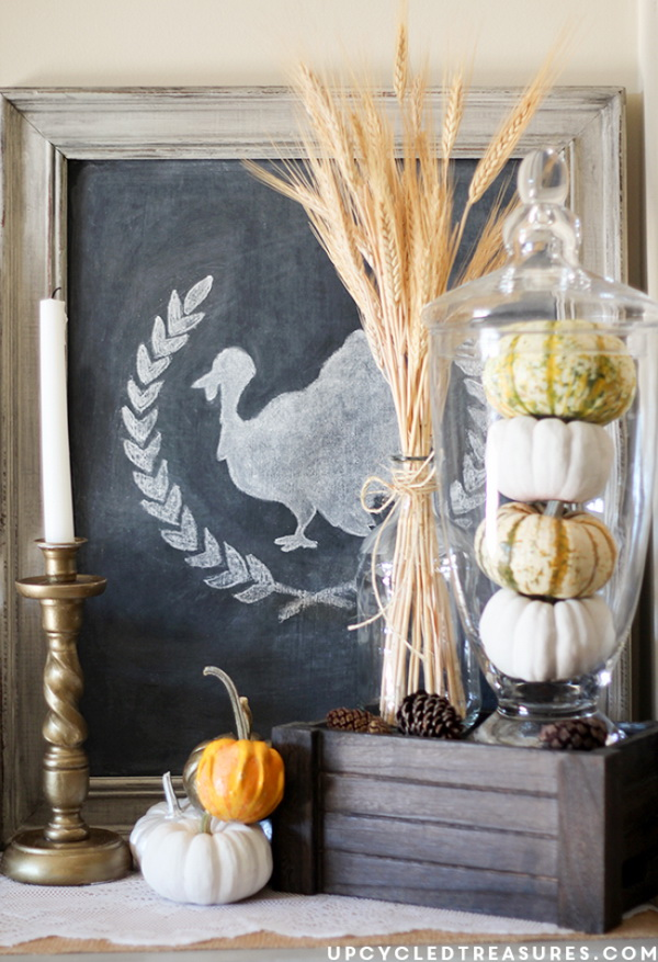 Rustic Thanksgiving Vignette. Create this awesome rustic Thanksgiving vignette with some natural elements, like pumpkins, wheat, pine cones and more. Easy and fun to put together for your fall mantle decoration.