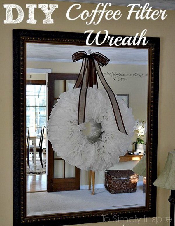 DIY Coffee Filter Wreath. Welcome the holiday season with an easy-to-make wreath featuring artfully arranged coffee filters. It's a cheap and easy way to add a beautiful accessory to your decor with this pretty craft.