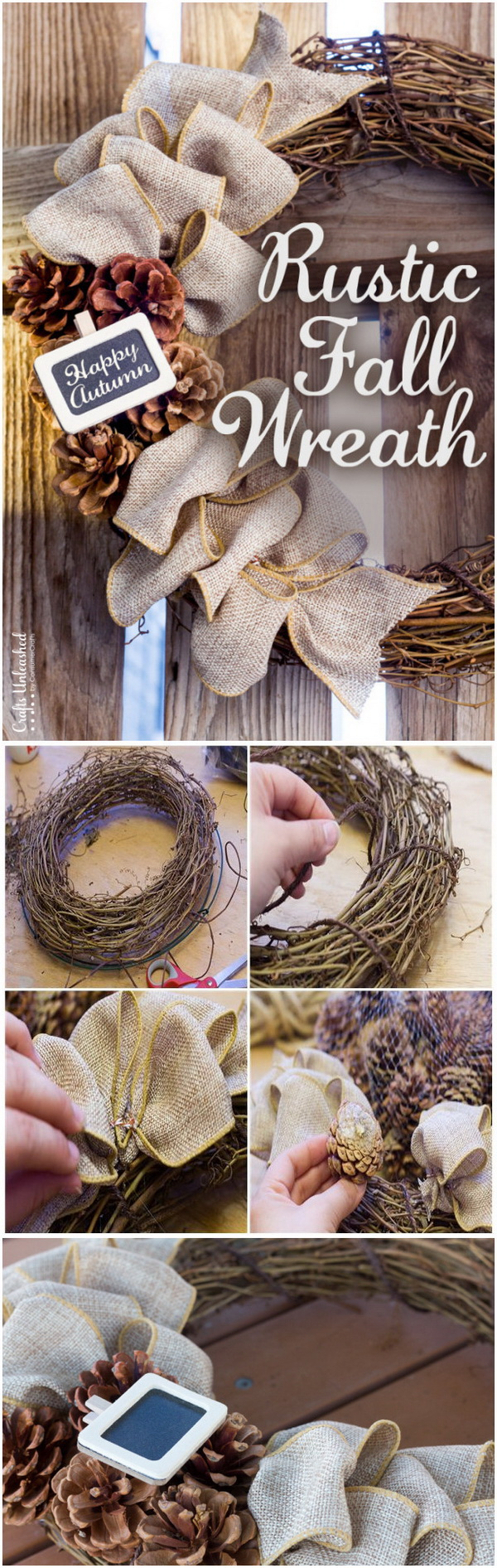 Rustic DIY Fall Wreath. This wreath is made out of grapevine, and completed with burlap or any other fall ornaments, like pine cones and a chalkboard fall sign.
