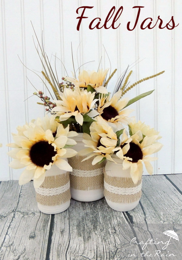 Fall Jars With Dollar Store Flowers. Turn the simple mason jars into these awesome rustic and festive centerpieces for fall season with textures and colors, like burlap, sunflowers,wheat and more.