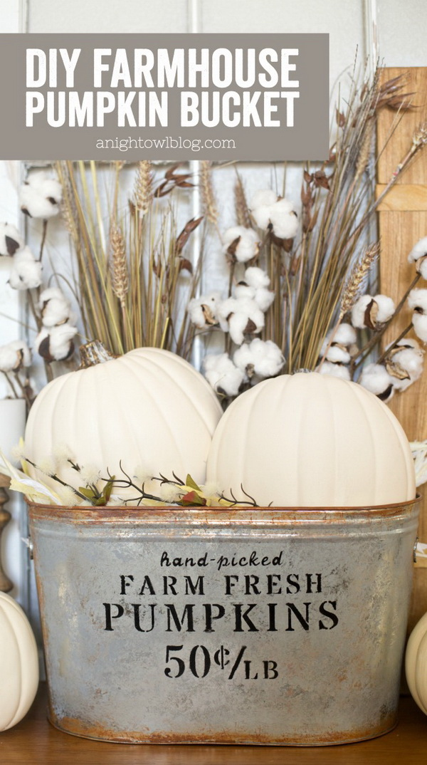 DIY Farmhouse Pumpkin Bucket. Love the farmhouse look for Fall with this simple but elegant pumpkin bucket. You can make your own one in just a few easy steps!