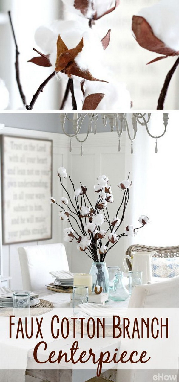Faux Cotton Branch Centerpiece. Add a touch of rustic elegance to your decor with a faux cotton branch centerpiece.