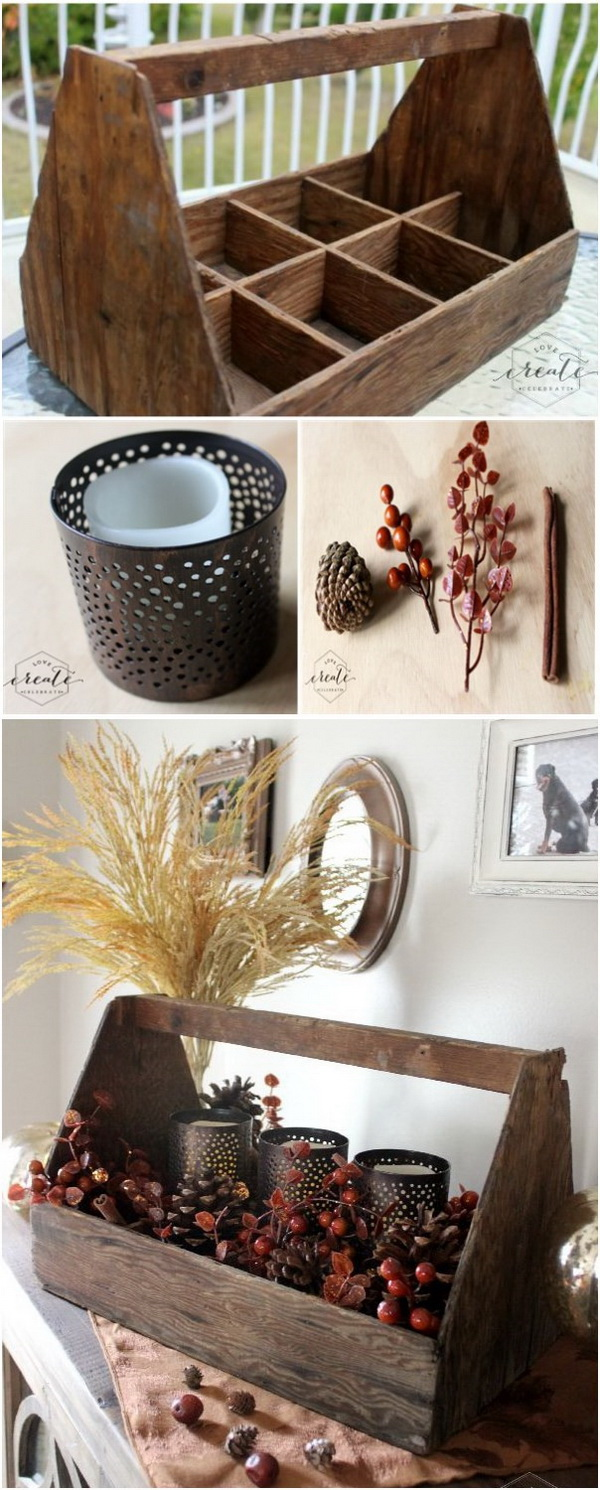 Natural Fall Decor. Repurpose the old toolbox into this amazing rustic centerpiece for your fall mantle or on the kitchen table for Thanksgiving.