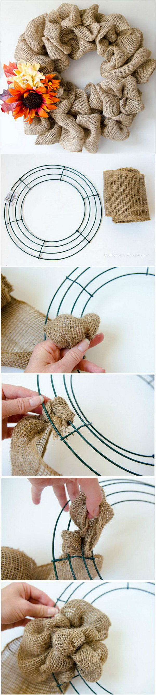 DIY Burlap Wreath For Fall. A quick and easy burlap wreath for the inside or outside decor for fall. It exudes a typical Fall feel. You can do it in just 15 minutes!