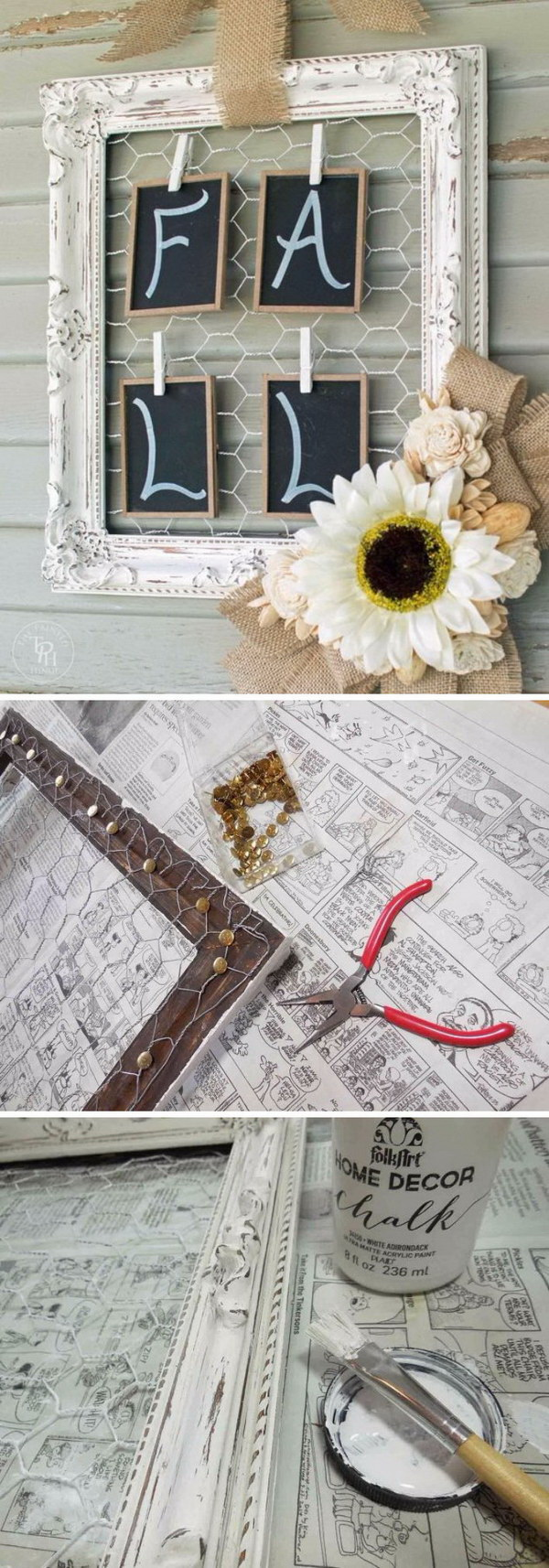 Shabby Chic Fall Wreath. Recycle the old empty frame into this pretty shabby chic decor piece with some chicken wire and natural elements.
