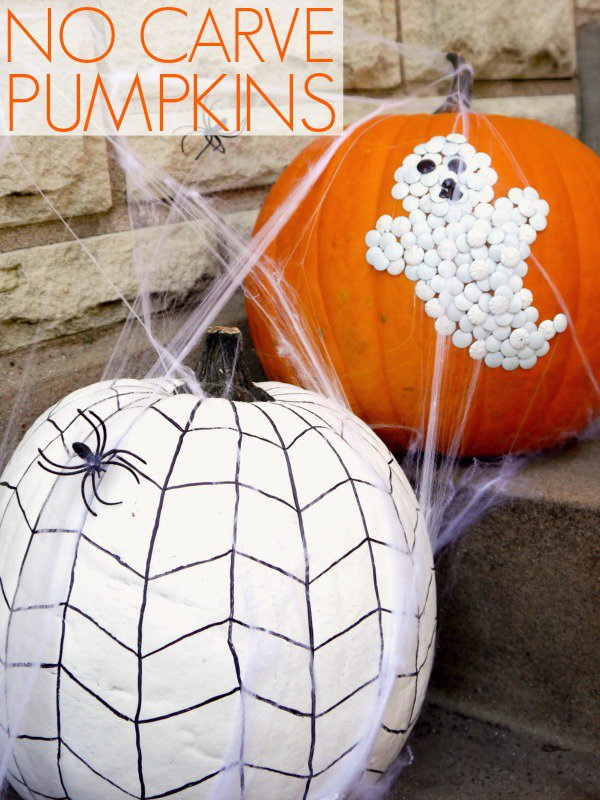 Pumpkins Decorated with Thumb Tacks Ghost and Painted Spider Web.