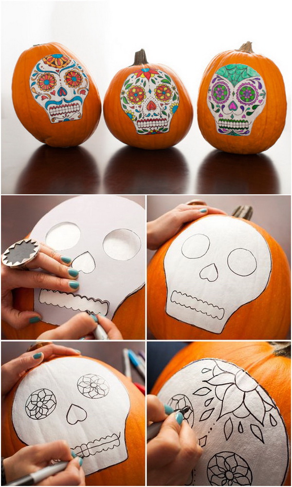 No-Carve Sugar Skull Pumpkins.
