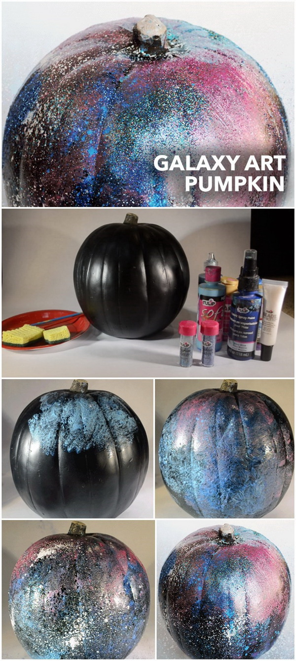 DIY Galaxy Art Pumpkin Painting.