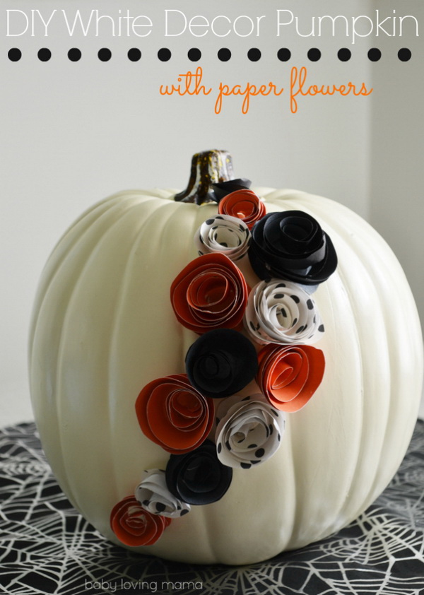 DIY White Pumpkin Decor with Paper Flowers for Halloween.